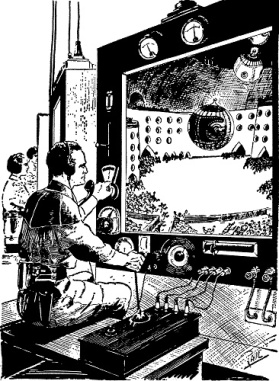 """Buck Rogers character from 1929 Amazing Stories, piloting a remote controlled """"air ball""""."""