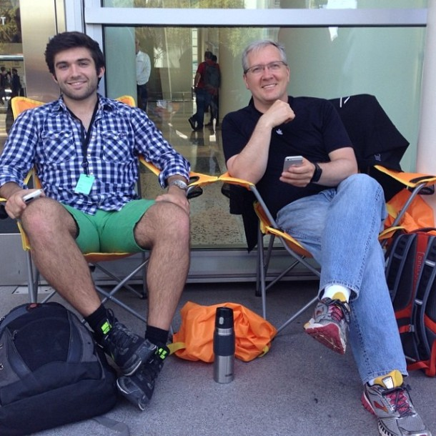 John H. Meyer, left,  at the Head of the Line at Apple's WWDC, with a Friend.