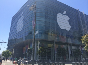 Moscone Center in San Francisco: Decorated by Apple
